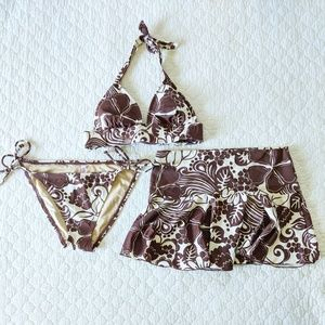 Victoria's Secret Brown print Bikini and Skirt S